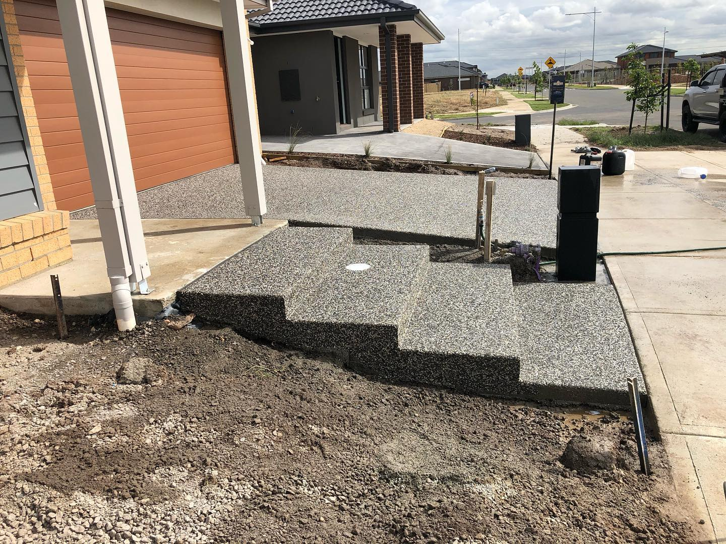 driveway, steps and exposed